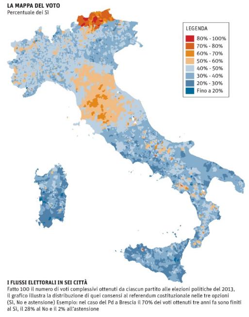 la mappa del voto